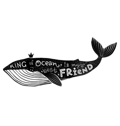 Black ink whale with lettering King of vector image