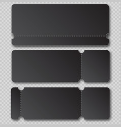 black ticket template with tear-off element vector image vector image