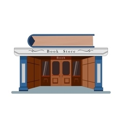 Bookstore with a large book in the flat roof style vector image vector image