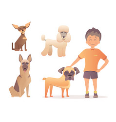 boy with his dog in flat vector image