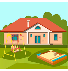 children playground in outside house vector image vector image