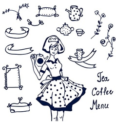 Coffee and tea icons - hand drawn graphics frames vector image vector image