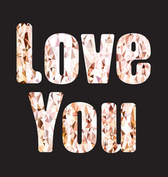 love you quote typography gold glitter isolated vector image vector image