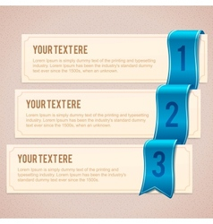 Set of 3 option banners with blue ribbon vector image