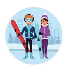 sport snowboard couple cartoon vector image
