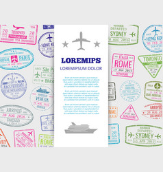 travel banner with grunge passport stamps vector image