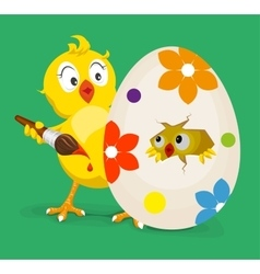 Yellow chicken colors easter egg vector image vector image