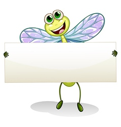 A dragonfly holding an empty banner vector image vector image