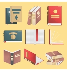 Books icons set isolated vector image