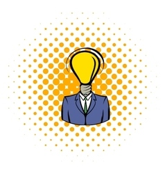 Businessman with lamp-head icon comics style vector image vector image