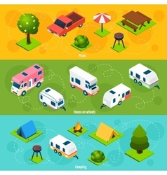 Camping And Travel Isometric Horizontal Banners vector image vector image
