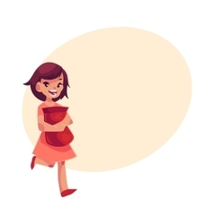 Little girl in pink dress holding pack of chips in vector