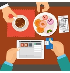 Mobile payment in restaurant using tablet vector image