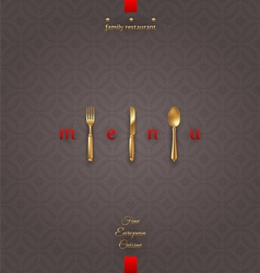 Ornate cover menu with golden cutlery vector image vector image