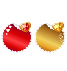 set of stickers with hearts vector image