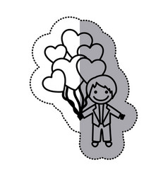 hand drawn sticker silhouette with groom and vector image vector image