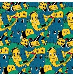 Handmade doodles elements seamless pattern vector image