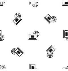 laptop and and wireless pattern seamless black vector image