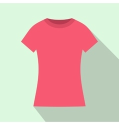 Pink t shirt icon flat style vector image vector image