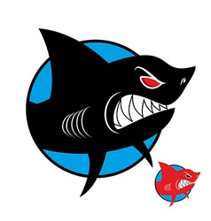 Shark logo Angry shark in circle logo for sports vector image vector image