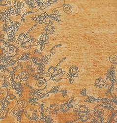 Abstract floral background with the wood texture vector image