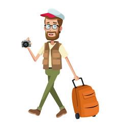 beard man traveler camera cap vector image