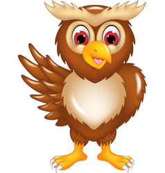 cute owl cartoon posing with smile and waving vector image
