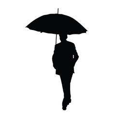 man with umbrella black silhouette vector image vector image