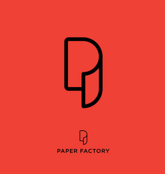 p logo paper factory emblem vector image