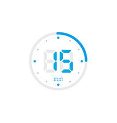 15 minute timer clock stopwatch isolated blue vector