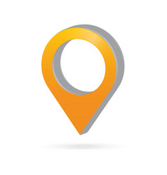 3d metal orange map pointer icon marker gps vector image