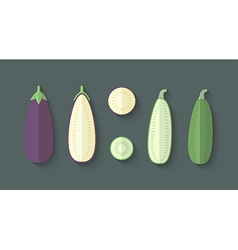 A set of Vegetables in a Flat Style - Eggplant and vector image