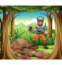 A smiling woodman holding an axe in the middle of vector