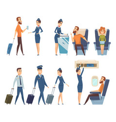 airplane passengers stewardess in uniform vector image