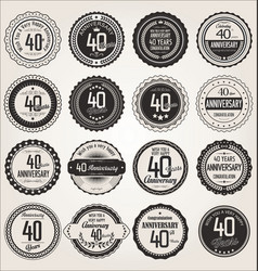 Anniversary retro labels collection 40 years vector