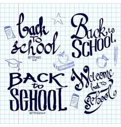 Back to school lettering and calligraphic on a vector image vector image