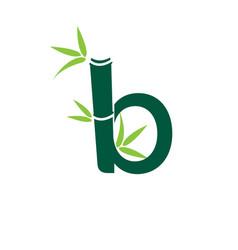 bamboo b letter logo design template vector image