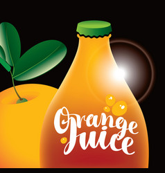 banner for orange juice with bottle and orange vector image