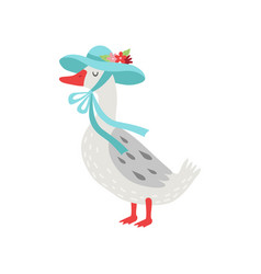 Beautiful white goose cartoon character wearing vector