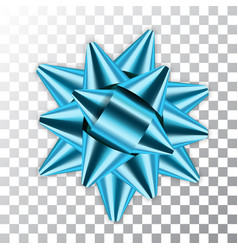 blue bow 3d ribbon decor element package shiny vector image