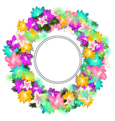 bright wreath different flowers and beads vector image