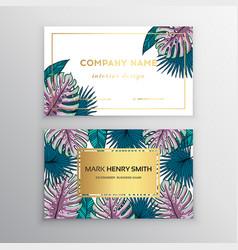 business cards gold design tropical leaf vector image