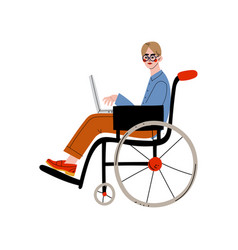 Business man sitting in wheelchair working with vector