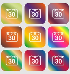 calendar icon Nine buttons with bright gradients vector image