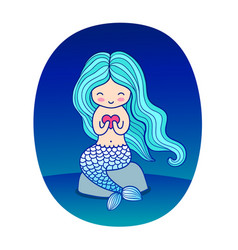 Cartoon mermaid sitting on a rock with heart in vector