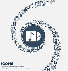 Cd player icon sign in the center around the many vector