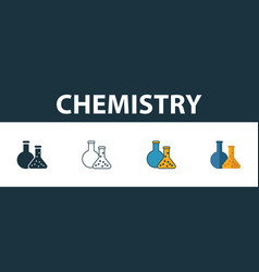 Chemistry icon set four elements in different vector