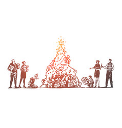 christmas big family tree celebration happy vector image