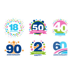 colorful anniversary labels collection 18 50 40 vector image