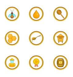 Competition of beekeepers icons set cartoon style vector